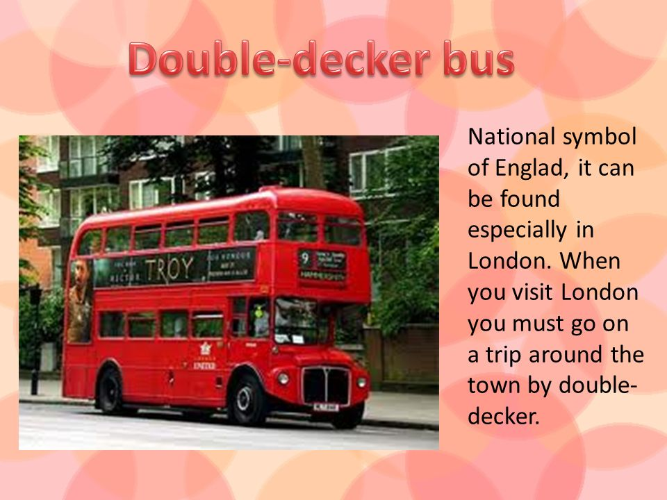 National symbol of Englad, it can be found especially in London. When you visit London you must go on a trip around the town by double- decker.