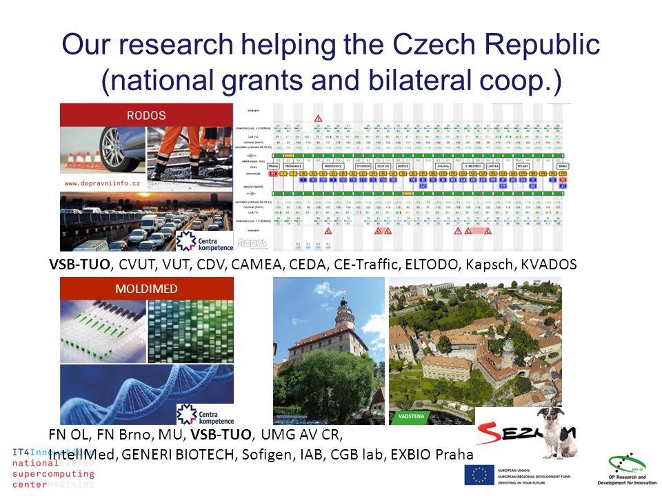 Our research helping the Czech Republic (national grants and bilateral coop.) VSB-TUO, CVUT, VUT, CDV, CAMEA, CEDA, CE-Traffic, ELTODO, Kapsch, KVADOS