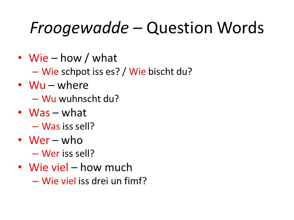 Froogewadde – Question Words Wie – how / what – Wie schpot iss es? / Wie bischt du? Wu – where – Wu wuhnscht du? Was – what – Was iss sell? Wer – who