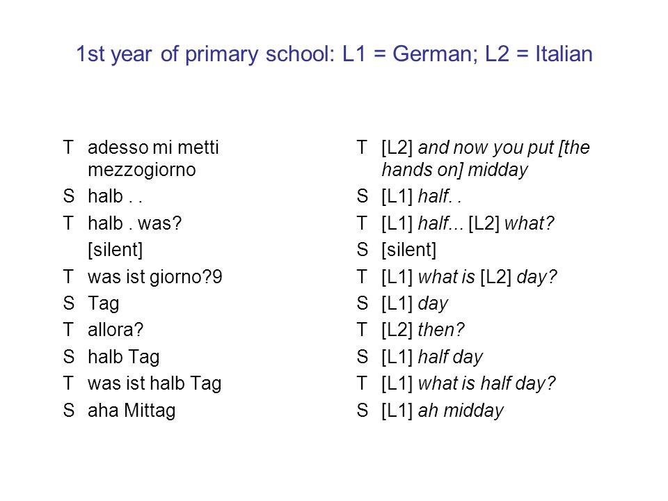 1st year of primary school: L1 = German; L2 = Italian Tadesso mi metti mezzogiorno Shalb.. Thalb. was? [silent] Twas ist giorno?9 STag Tallora? Shalb