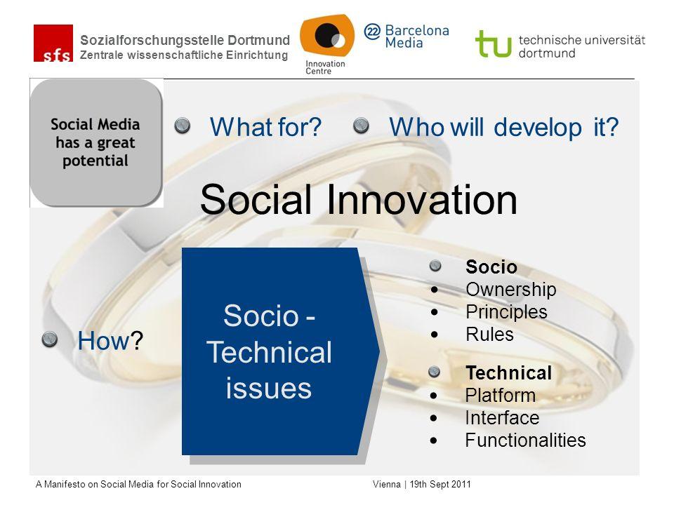 Sozialforschungsstelle Dortmund Zentrale wissenschaftliche Einrichtung A Manifesto on Social Media for Social Innovation Vienna | 19th Sept 2011 What for.