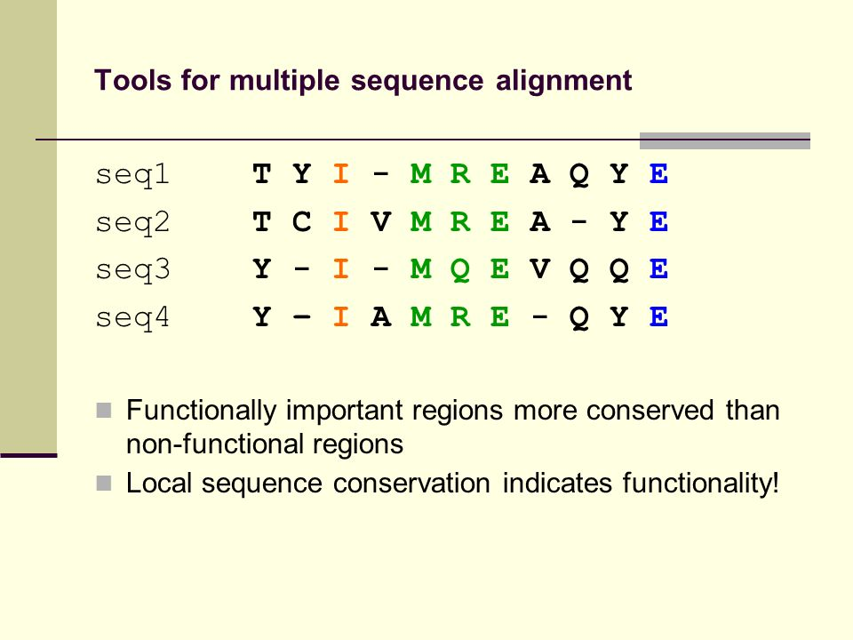 Tools for multiple sequence alignment seq1 T Y I - M R E A Q Y E seq2 T C I V M R E A - Y E seq3 Y - I - M Q E V Q Q E seq4 Y – I A M R E - Q Y E Functionally important regions more conserved than non-functional regions Local sequence conservation indicates functionality!