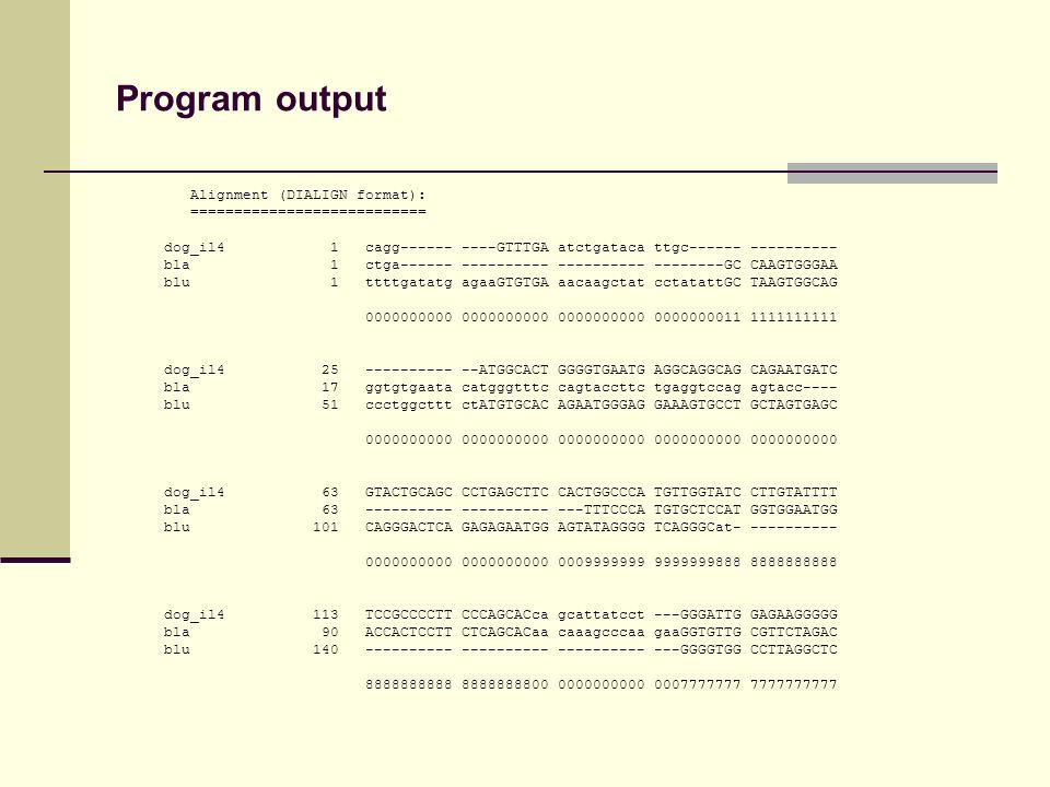 Program output Alignment (DIALIGN format): =========================== dog_il4 1 cagg------ ----GTTTGA atctgataca ttgc------ ---------- bla 1 ctga------ ---------- ---------- --------GC CAAGTGGGAA blu 1 ttttgatatg agaaGTGTGA aacaagctat cctatattGC TAAGTGGCAG 0000000000 0000000000 0000000000 0000000011 1111111111 dog_il4 25 ---------- --ATGGCACT GGGGTGAATG AGGCAGGCAG CAGAATGATC bla 17 ggtgtgaata catgggtttc cagtaccttc tgaggtccag agtacc---- blu 51 ccctggcttt ctATGTGCAC AGAATGGGAG GAAAGTGCCT GCTAGTGAGC 0000000000 0000000000 0000000000 0000000000 0000000000 dog_il4 63 GTACTGCAGC CCTGAGCTTC CACTGGCCCA TGTTGGTATC CTTGTATTTT bla 63 ---------- ---------- ---TTTCCCA TGTGCTCCAT GGTGGAATGG blu 101 CAGGGACTCA GAGAGAATGG AGTATAGGGG TCAGGGCat- ---------- 0000000000 0000000000 0009999999 9999999888 8888888888 dog_il4 113 TCCGCCCCTT CCCAGCACca gcattatcct ---GGGATTG GAGAAGGGGG bla 90 ACCACTCCTT CTCAGCACaa caaagcccaa gaaGGTGTTG CGTTCTAGAC blu 140 ---------- ---------- ---------- ---GGGGTGG CCTTAGGCTC 8888888888 8888888800 0000000000 0007777777 7777777777