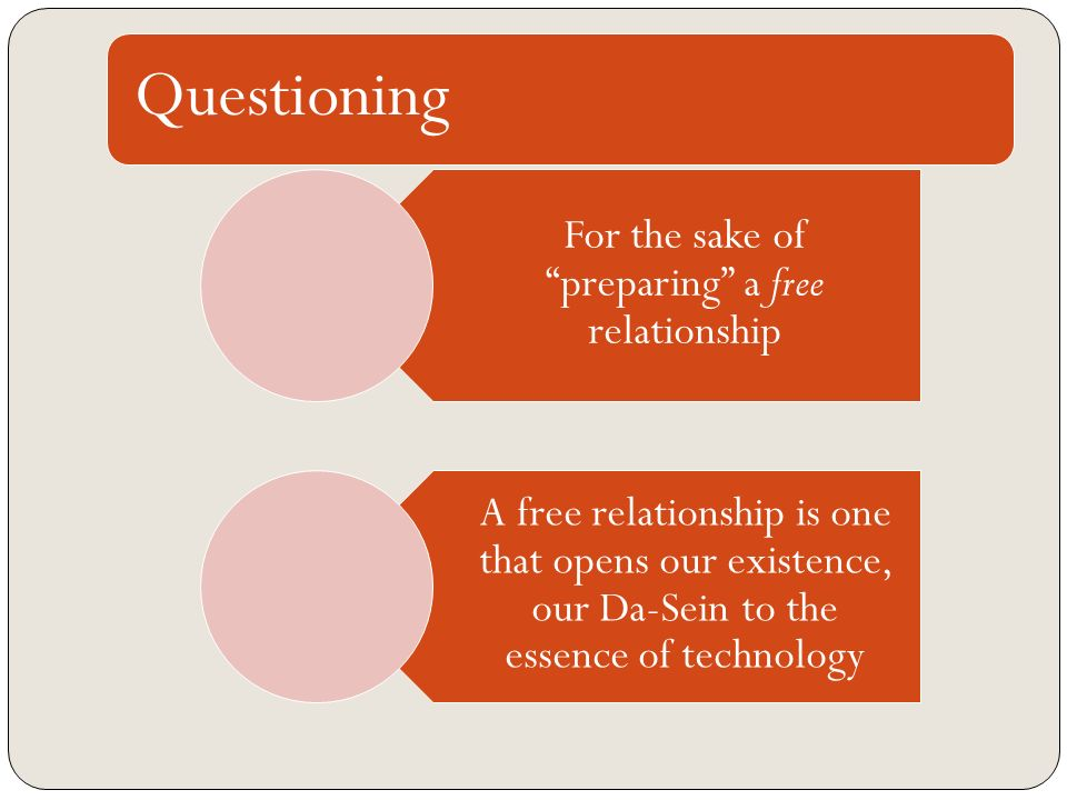 Questioning For the sake of preparing a free relationship A free relationship is one that opens our existence, our Da-Sein to the essence of technolog