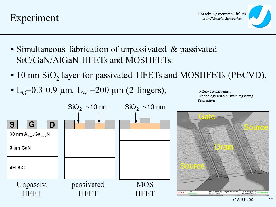 Forschungszentrum Jülich in der Helmholtz-Gemeinschaft CWRF200812 Experiment Unpassiv. HFET Simultaneous fabrication of unpassivated & passivated SiC/