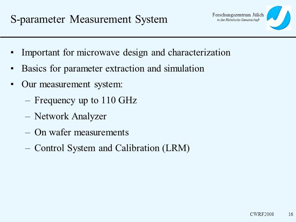 Forschungszentrum Jülich in der Helmholtz-Gemeinschaft CWRF200816 S-parameter Measurement System Important for microwave design and characterization B