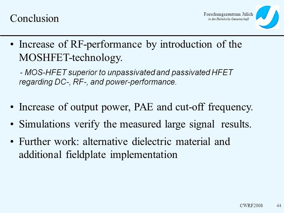 Forschungszentrum Jülich in der Helmholtz-Gemeinschaft CWRF200844 Conclusion Increase of RF-performance by introduction of the MOSHFET-technology. - M