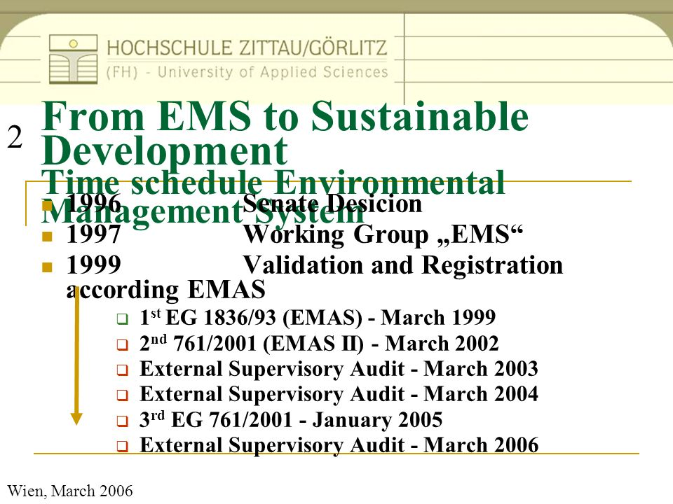 Wien, March 2006 Important goals: Energy and Water Materials and Waste Information/Com munication Education and Research Sustainable Development Operation Integration in Research and Education