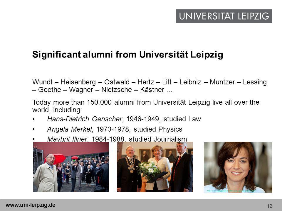 12 www.uni-leipzig.de Significant alumni from Universität Leipzig Wundt – Heisenberg – Ostwald – Hertz – Litt – Leibniz – Müntzer – Lessing – Goethe – Wagner – Nietzsche – Kästner...