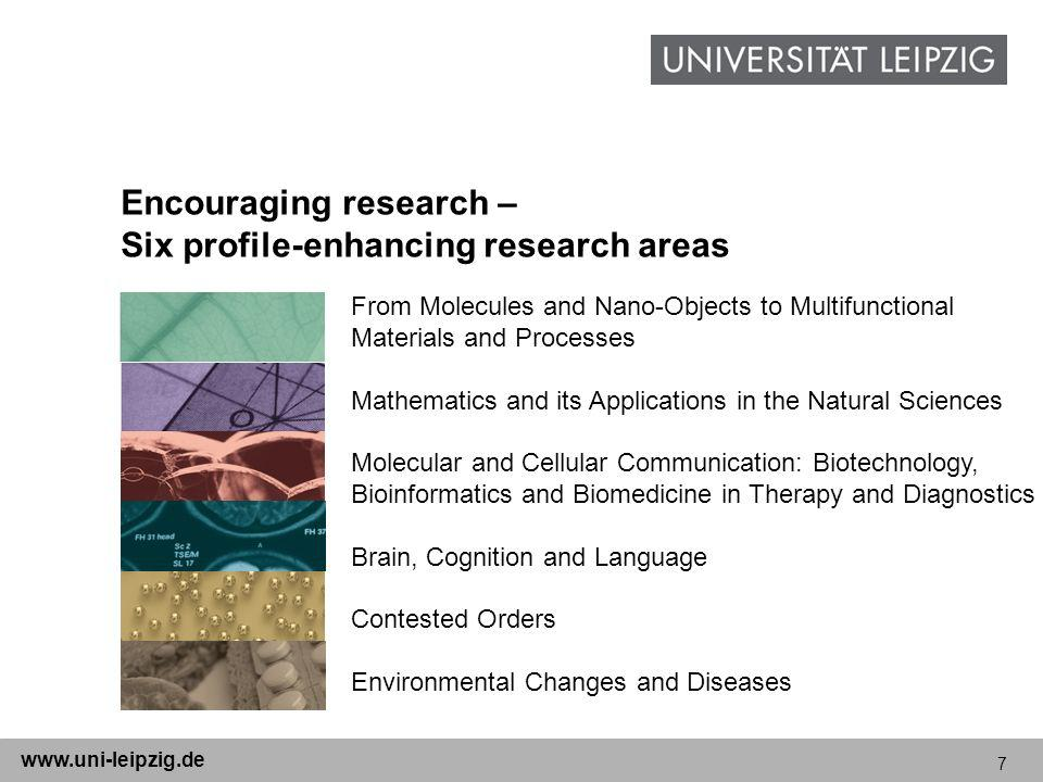 7 www.uni-leipzig.de Encouraging research – Six profile-enhancing research areas From Molecules and Nano-Objects to Multifunctional Materials and Processes Mathematics and its Applications in the Natural Sciences Molecular and Cellular Communication: Biotechnology, Bioinformatics and Biomedicine in Therapy and Diagnostics Brain, Cognition and Language Contested Orders Environmental Changes and Diseases