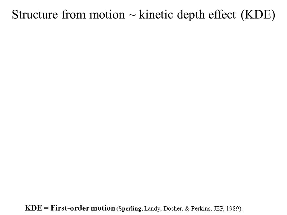 Structure from motion ~ kinetic depth effect (KDE) KDE = First-order motion (Sperling, Landy, Dosher, & Perkins, JEP, 1989).
