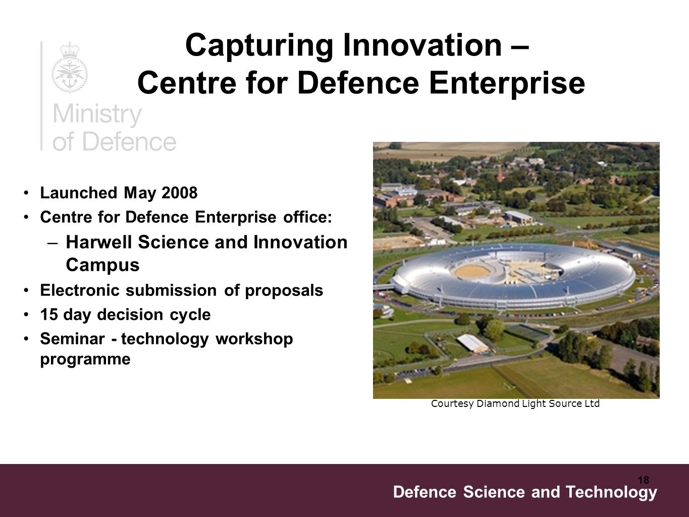Defence Science and Technology 18 Launched May 2008 Centre for Defence Enterprise office: –Harwell Science and Innovation Campus Electronic submission of proposals 15 day decision cycle Seminar - technology workshop programme Courtesy Diamond Light Source Ltd Capturing Innovation – Centre for Defence Enterprise