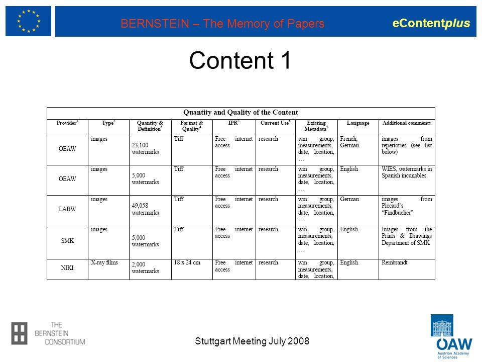 eContentplus BERNSTEIN – The Memory of Papers Content 1 Stuttgart Meeting July 2008