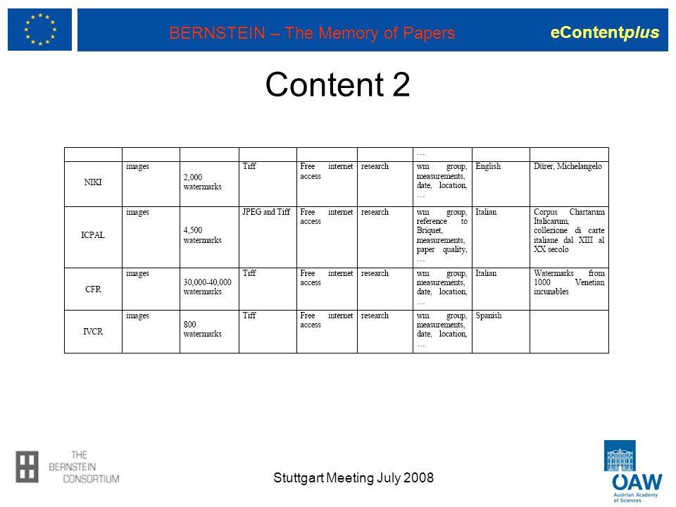 eContentplus BERNSTEIN – The Memory of Papers Content 2 Stuttgart Meeting July 2008