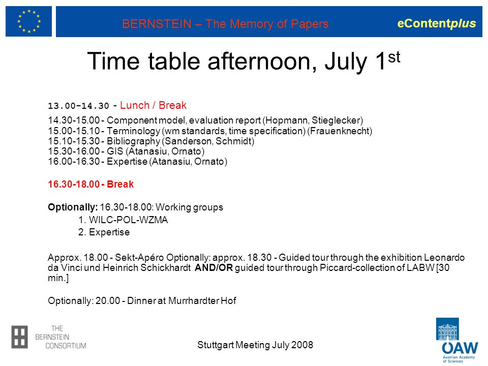 eContentplus BERNSTEIN – The Memory of Papers Stuttgart Meeting July 2008 Time table afternoon, July 1 st 13.00-14.30 - Lunch / Break 14.30-15.00 - Co