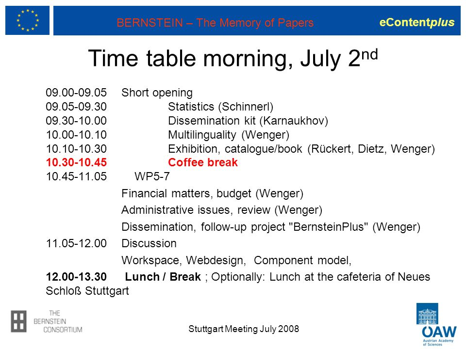 eContentplus BERNSTEIN – The Memory of Papers Time table morning, July 2 nd 09.00-09.05 Short opening 09.05-09.30 Statistics (Schinnerl) 09.30-10.00 D