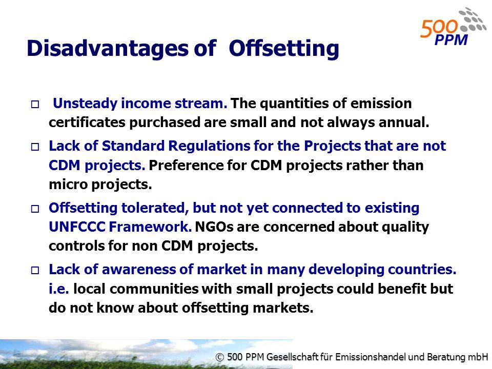 © 500 PPM Gesellschaft für Emissionshandel und Beratung mbH Disadvantages of Offsetting Unsteady income stream.
