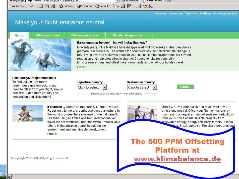 © 500 PPM Gesellschaft für Emissionshandel und Beratung mbH The 500 PPM Offsetting Platform at www.klimabalance.de www.klimabalance.de