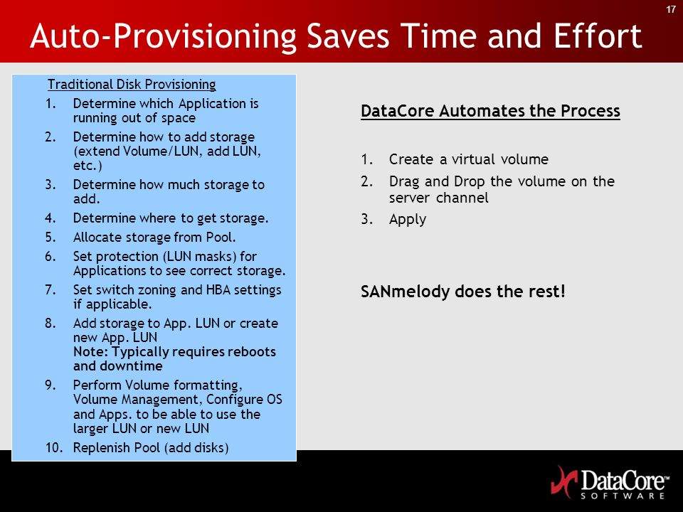17 Auto-Provisioning Saves Time and Effort Traditional Disk Provisioning 1.Determine which Application is running out of space 2.Determine how to add