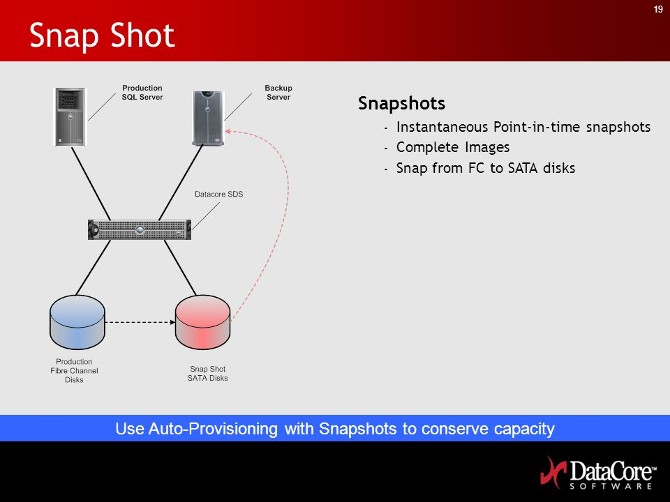 19 Snap Shot Snapshots - Instantaneous Point-in-time snapshots - Complete Images - Snap from FC to SATA disks Use Auto-Provisioning with Snapshots to