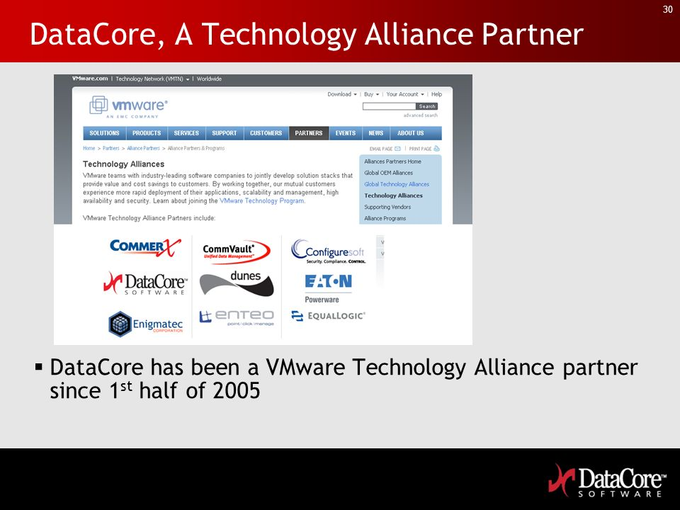 30 DataCore, A Technology Alliance Partner DataCore has been a VMware Technology Alliance partner since 1 st half of 2005