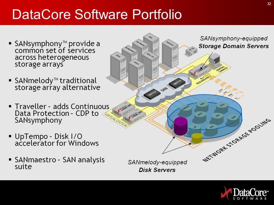 32 DataCore Software Portfolio SANsymphony provide a common set of services across heterogeneous storage arrays SANmelody traditional storage array al