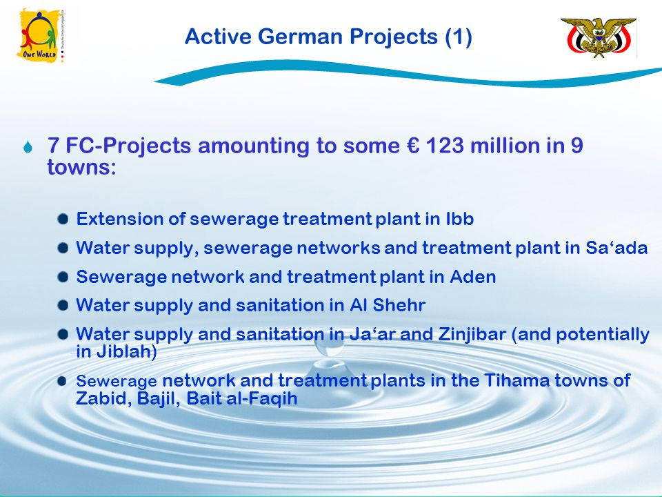 Active German Projects (1) [1] 7 FC-Projects amounting to some 123 million in 9 towns: Extension of sewerage treatment plant in Ibb Water supply, sewerage networks and treatment plant in Saada Sewerage network and treatment plant in Aden Water supply and sanitation in Al Shehr Water supply and sanitation in Jaar and Zinjibar (and potentially in Jiblah) Sewerage network and treatment plants in the Tihama towns of Zabid, Bajil, Bait al-Faqih