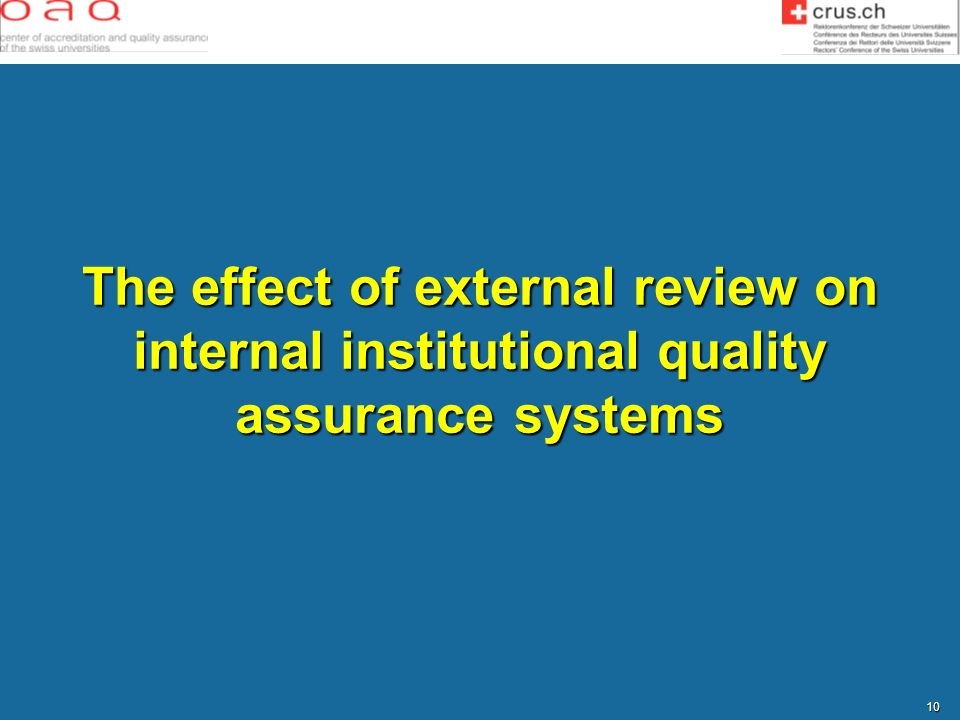 10 The effect of external review on internal institutional quality assurance systems