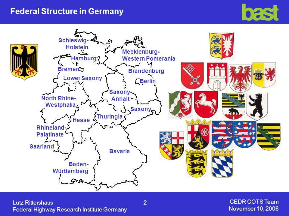 CEDR COTS Team November 10, 2006 Lutz Rittershaus3 Federal Highway Research Institute Germany Cities / Districts Federal States Federal Republic Private Operators (in future) In Germany we have roads in the field of responsibility of: The motorways and federal roads are operated by the road administrations of the federal states on behalf of the federal republic.