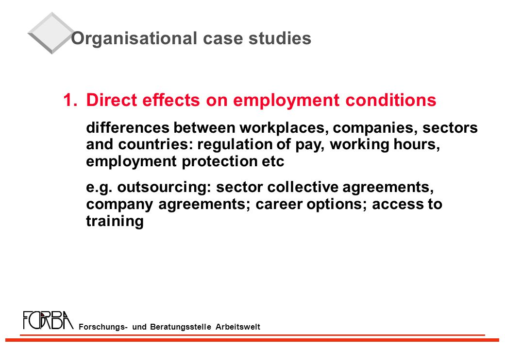 Forschungs- und Beratungsstelle Arbeitswelt Organisational case studies 1.Direct effects on employment conditions differences between workplaces, comp