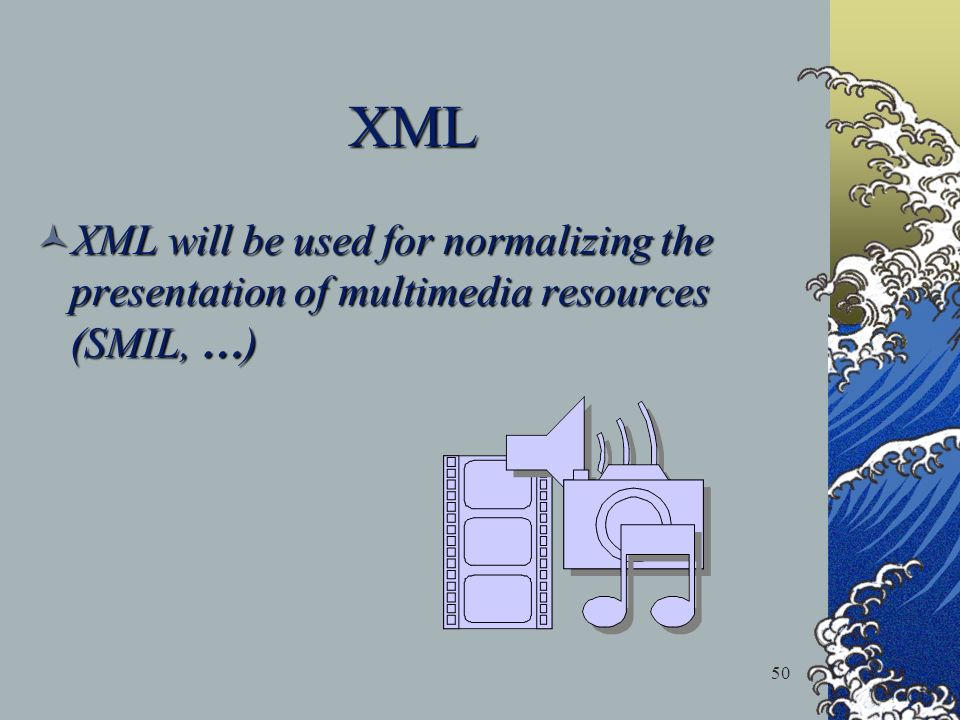 50 XML XML will be used for normalizing the presentation of multimedia resources (SMIL, … ) XML will be used for normalizing the presentation of multi