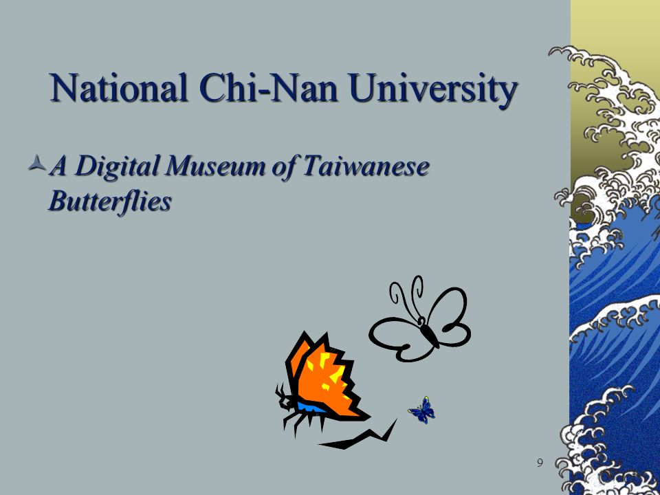 9 National Chi-Nan University A Digital Museum of Taiwanese Butterflies A Digital Museum of Taiwanese Butterflies