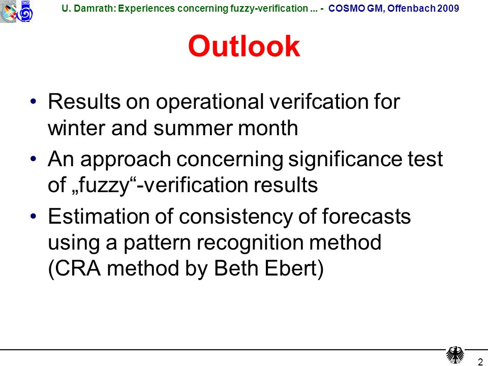 U. Damrath: Experiences concerning fuzzy-verification...