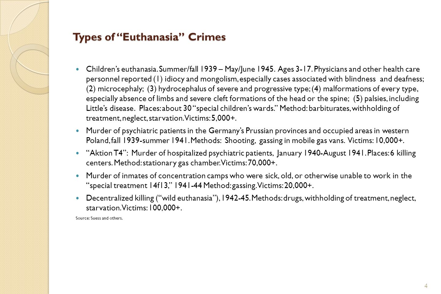 Types of Euthanasia Crimes Childrens euthanasia. Summer/fall 1939 – May/June 1945.