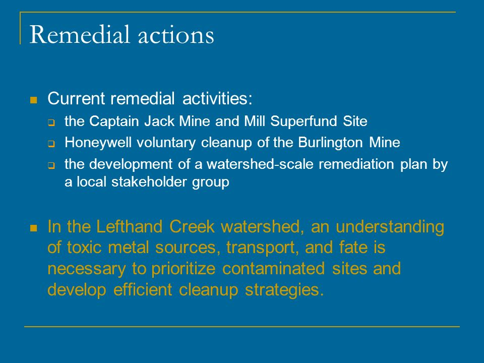 Research Goal and Hypothesis Goal: Identify and quantify sources of metal loading to Lefthand, James, and Little James Creeks.