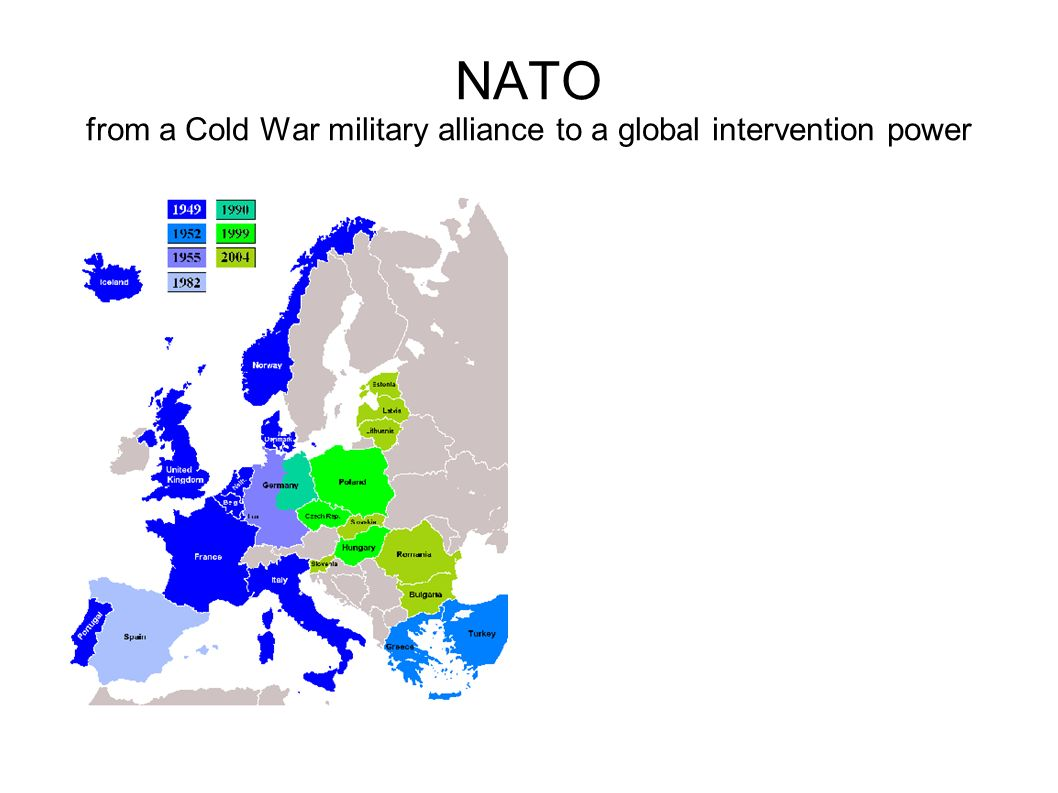 US posture in Europe Now: 80000 (without 6 th Fleet) – future: 66000 military HQ: EUCOM (Stuttgart) Army: 2 Brigade Combat Team (BCT) in Germany (Vilseck) and Italy (Vicenza), 2 extra heavy BCT s in Germany till 2012-2013 Air Force: 77 bases, 220 aircraft Main bases: Lakenheath (UK), Mildenhall (UK), Ramstein (D), Spangdahlem (D), Aviano (I), Lajes (P - Azores), Incirlik (Turkey) Navy: US 6 th Fleet in Mediterranean