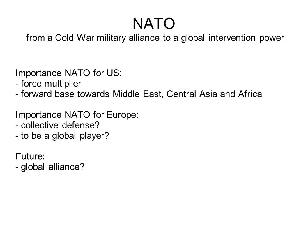 NATO and world military expenditure Military expenditure 2009: (SIPRI - In constant 2008 US$) NATO (-US): 355,000,000,000 (22.6% world) US: 663,000,000,000 (42.1% world) NATO total: 1,018,000,000,000 (64.7% world) World: 1,572,000,000,000 China: 99,000,000,000 (6.3% world) UK: 69,000,000,000 (4.4% world) France: 67,000,000,000 (4.3% world) Russia: 61,000,000,000 (3.9% world) Expenditure development aid 2009: US: 29 billion $, EU: 49 billion