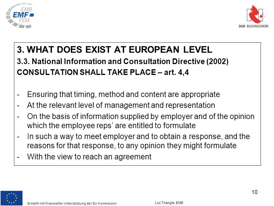 Erstellt mit finanzieller Unterstützung der EU Kommission Luc Triangle, EMB 10 3.