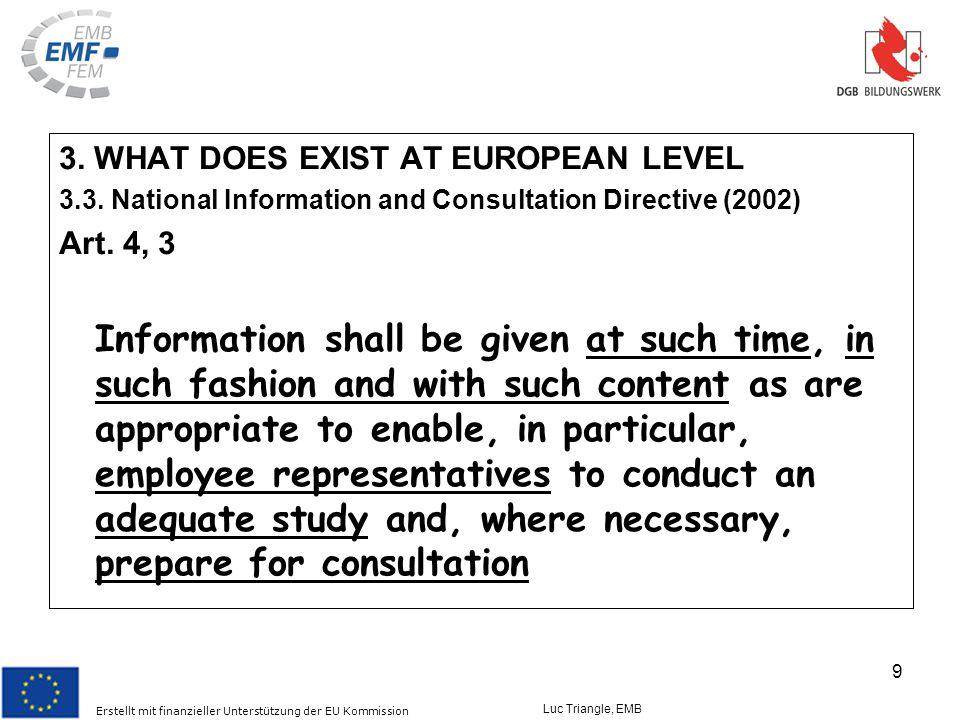 Erstellt mit finanzieller Unterstützung der EU Kommission Luc Triangle, EMB 9 3.