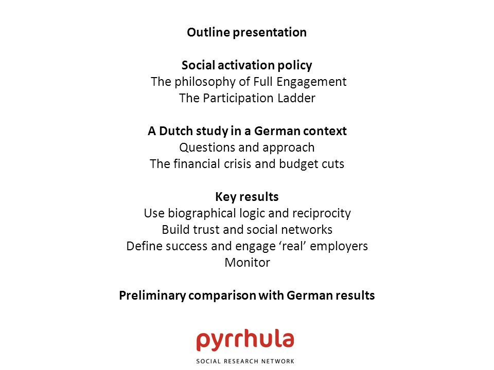 Outline presentation Social activation policy The philosophy of Full Engagement The Participation Ladder A Dutch study in a German context Questions a