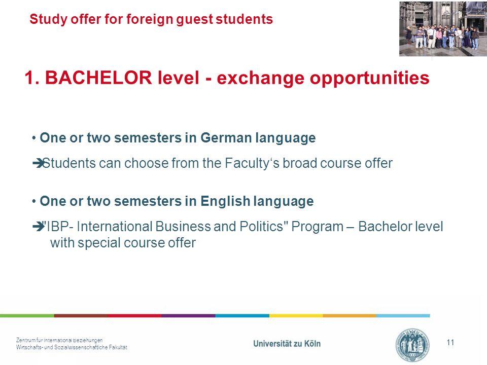 Zentrum für International Beziehungen Wirtschafts- und Sozialwissenschaftliche Fakultät 11 Study offer for foreign guest students One or two semesters