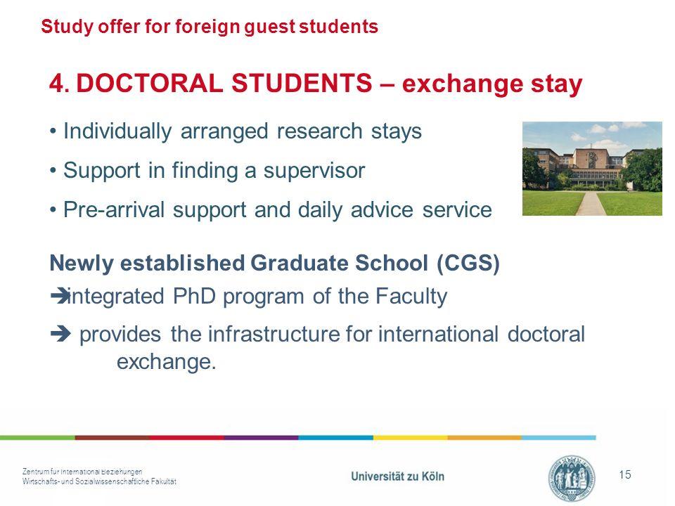 Zentrum für International Beziehungen Wirtschafts- und Sozialwissenschaftliche Fakultät 15 Study offer for foreign guest students 4.