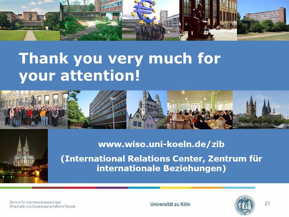 Zentrum für International Beziehungen Wirtschafts- und Sozialwissenschaftliche Fakultät 21 www.wiso.uni-koeln.de/zib (International Relations Center, Zentrum für internationale Beziehungen) Thank you very much for your attention!