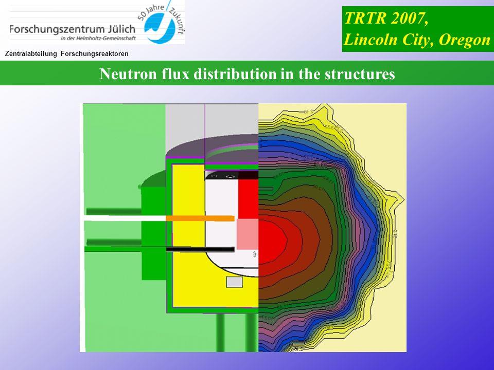 Zentralabteilung Forschungsreaktoren Neutron flux distribution in the structures