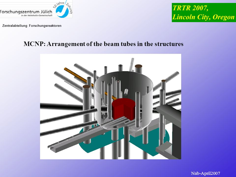 Zentralabteilung Forschungsreaktoren MCNP: FRJ-2 model with the nodalized reactor core