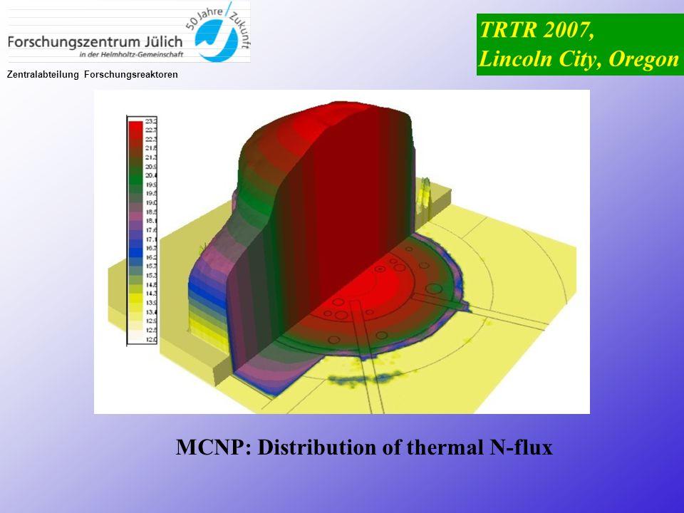 Zentralabteilung Forschungsreaktoren MCNP: Distribution of thermal N-flux