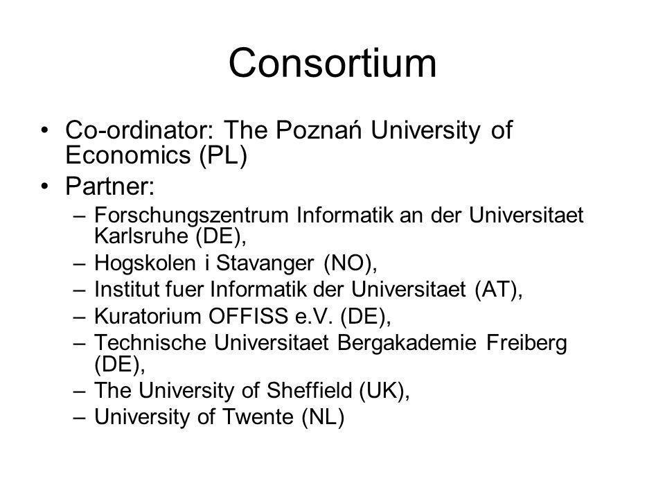 Consortium Co-ordinator: The Poznań University of Economics (PL) Partner: –Forschungszentrum Informatik an der Universitaet Karlsruhe (DE), –Hogskolen i Stavanger (NO), –Institut fuer Informatik der Universitaet (AT), –Kuratorium OFFISS e.V.