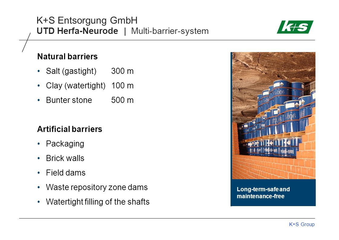 K+S Group K+S Entsorgung GmbH UTD Herfa-Neurode | Multi-barrier-system Natural barriers Salt (gastight)300 m Clay (watertight)100 m Bunter stone500 m