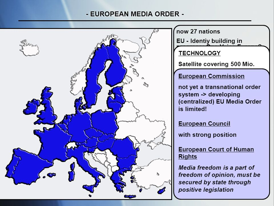 tab / uni maribor ws 07/ 08 - EUROPEAN MEDIA ORDER - now 27 nations EU - Identiy building in progress: One Voice Europe.