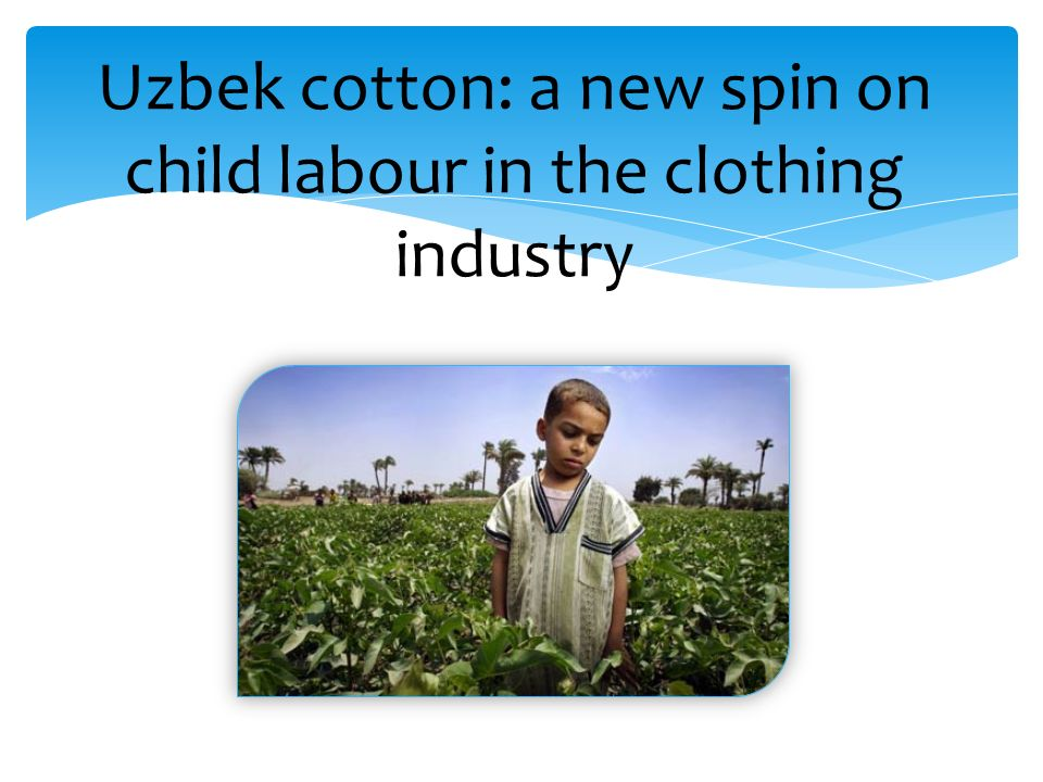 Oppressive regime controls cotton production Children are forced to work under bad conditions Western companies succeeded in boycotting the Uzbek cotton In 2008 the Uzbek government banned children under 16 from work The case